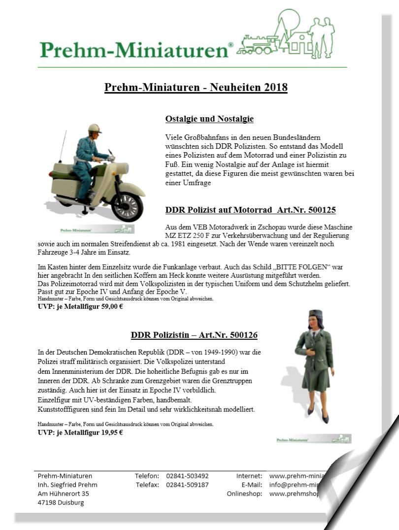 Prehm-Miniaturen - Neuheitenblatt 2018